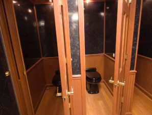 Luxury portable restrooms toilets phoenix portable for Deluxe portable bathrooms